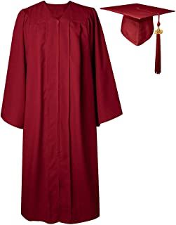GGS Unisex Adult Matte Graduation Gown Cap Tassel Set for Bachelor/High School 2019 Year Charm 12 Colors