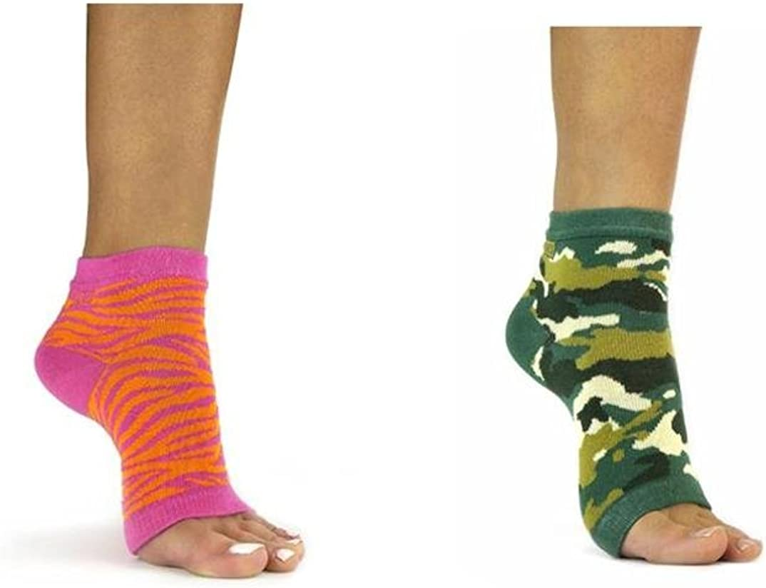 FreeToes Toeless Sock X 2 Pair (1- Pink Orange Zebra,1- Green Camo)