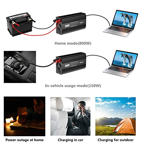 800W Power Inverter DC 12V to 110V AC Converter Car Plug Adapter Outlet Charger for Laptop Computer