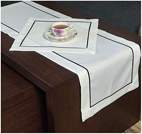 FK-Lampen Camino de mesa Art – Deco aspecto de lino, camino de mesa, tamaño + color a elegir, diseño superior (blanco, 40 x 160 cm)