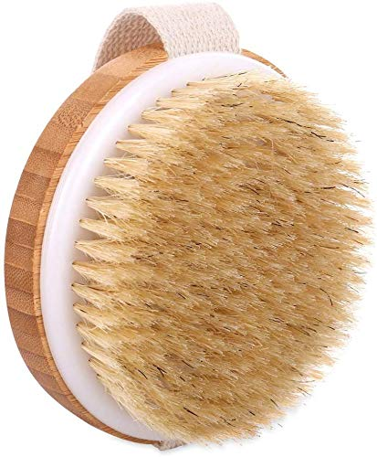 Körperbürste,Badebürste,Massagebürste,Rückenbürste & Trockenbürste, Naturborsten Bambusholz Runde Körperbürsten zum Bürsten Peeling Stimuliert die Durchblutung...