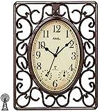 AMS 5976 - Reloj de pared controlado por radio, color marrón, rectangular, antiguo, vintage, con termómetro