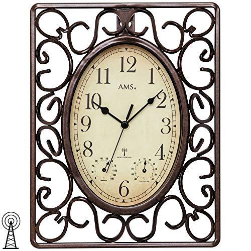 AMS, 5976, radiografische wandklok, bruin, vierkant, antiek, vintage, retro thermometer