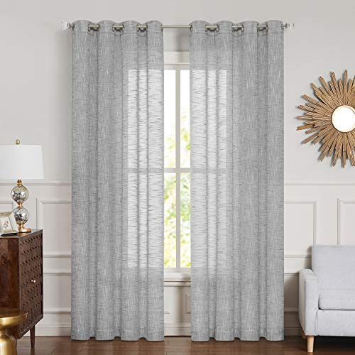 """Central Park Gray Sheer Curtain Metallic Sparkling Decorative Window Treatment Linen Texture for Living Room and Bedroom Drapes with Grommets Bliss Rustic Farmhouse Curtains, 54"""" x 95""""x 2,Grey"""