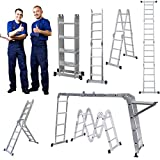 4x4 Aluminium Multi Function Folding Tool Decorating Extension Loft Ladder 4.7M 15.5FT Heavy Duty Combination Step 1 Painting Tray Manufactured to EN131 Up to 330pound/150kg