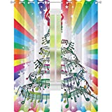 YUAZHOQI Cortina de música para puerta francesa, colorida música notas como árbol de Navidad con fondo de arco iris, tema de fiesta de Año Nuevo, impermeable, 132 x 274 cm, multicolor