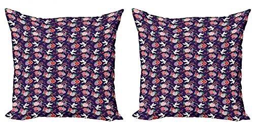 ABAKUHAUS Uccelli Federe Cuscini Set di 2, Gru Volante e Fiori, Stampa Digitale Fronte-Retro con Accento Moderno, 60 cm x 60 cm, Multicolore