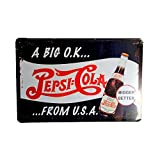 DiiliHiiri Cartel de Chapa Decoración Hogar Vintage, Letrero A4 Estilo Antiguo de metálico Retro (Pepsi Cola)