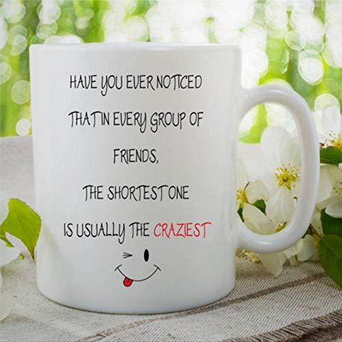 """Taza de café divertida con texto en inglés """"El más corto amigo es el más loco"""", regalo de Navidad, taza de té de cerámica de Papá Noel, taza de té para hombres y mujeres"""