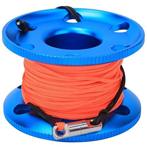 fried Zubehör 30 m 50 m Tauch-Fingerspule aus Edelstahl, Schwimmspule mit fluoreszierender orangefarbener Schnur, Unterwasser-Schnorchelgummi (Farbe: 50 m)