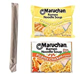 Maruchan Ramen Noodle Soup Variety Pack, Picante Chicken and Creamy Chicken, (3 oz) 6 each, 12 total, with a set of Cutiepie Chopsticks Included