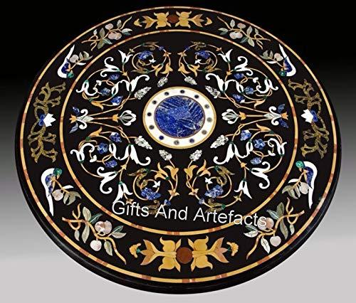 Mesa de centro negra con incrustaciones de mano y piedras semipreciosas de 48 pulgadas