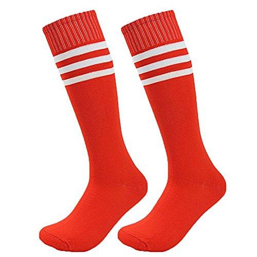 Dosige Streifen Kniestrümpfe Sport Strümpfe Overknee Sportsocken Lang Baseball Fußball Rugby Cheerleader Socks für Männer Frauen Damen Mädchen Rot