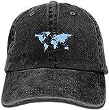 Photo de dooba Male's Girls Sunbonnet,World Map Jeanet Hat for Man Women Unisex Black par