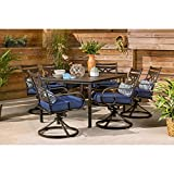 """Hanover Montclair 7-Piece All-Weather Outdoor Patio Dining Set, 6 Swivel Rocker Chairs with Comfortable Navy Seat and Lumbar Cushions, 40""""x66"""" Stamped Rectangle Table, MCLRDN7PCSQSW6-NVY"""