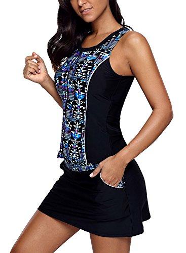 Aleumdr Womens Fashion Printed Sleeveless O Neck Tummy Control Color Block 2pcs Tankini Swimsuits with Bikini Board Shorts Black Medium