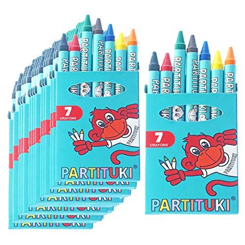 Partituki Mitgebsel Kindergeburtstag Junge 40 Sets mit 7 Farbige Crayons. Kleine Geschenke für Kinderparty. Pinata Füllung. Ungiftig Zertifiziert