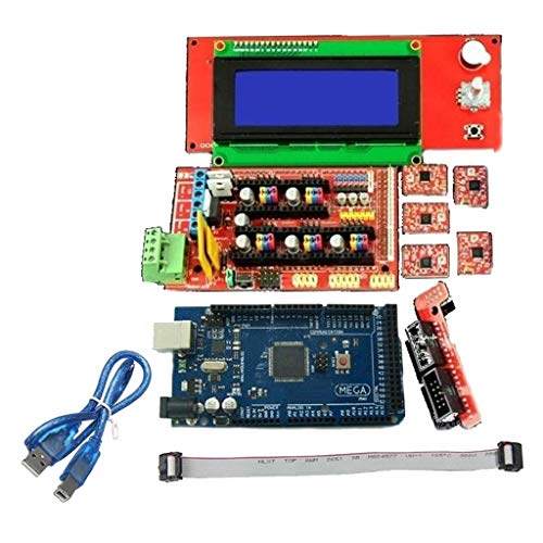 Yongenee 3D Printer Kit Mega 2560 Board RAMPS 1.4 Controller A4988 Stepper Motor Driver LCD 12864 Graphics Smart Display Controller For 3D Printer tools