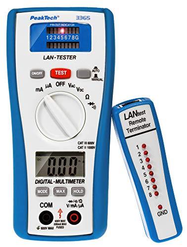 PeakTech 3365 – LAN Tester & Digital Multimeter, Netzwerkprüfgerät, Spannungsprüfer, Handmultimeter, Kabeltester, Messung, Spannungsmesser, Durchgangsprüfer, Messgerät, Erdungskabel - 600 V P 3365