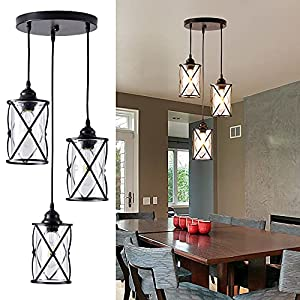 Industrial Pendant Light, 3-Light Metal Cage Rustic Hanging Pedant Lights Fixture Ceiling with Glass Shade for Kitchen Island, Dining Room, Cafe, Farmhouse, Foyer (Black E26 Base)