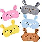 5 Stücke Tier Schlafmaske Kaninchen Augenmaske Weichem Plüsch Augenbinde Augenabdeckung für Kinder Erwachsene, 5 Farben