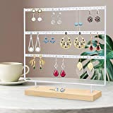 Suneed Earring Holder Organizer Jewelry Display Stands Earring Organizer Stand Jewelry Holder Organizer, Earring & Necklace Jewelry Towel Organizer Display Tree (White-3Layer)