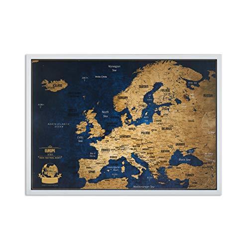 Mappa da viaggio Europa + 100 spille Bonus, carta da viaggio Europa con cornice, Mappa personalizzati con colori originali, 44 x 62 cm, cornice in legno naturale 44 x 62 cm Telaio nero.