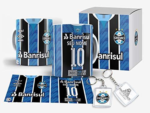 Caneca Camisa time do Grêmio Personalizada com nome e numero Caixinha +