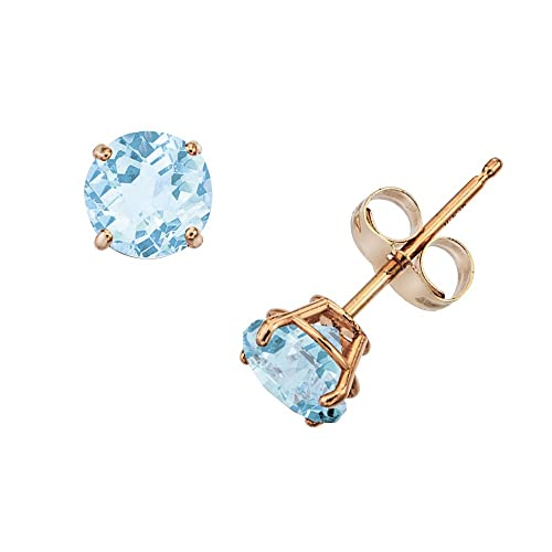 .50 ct Aquamarine Star Stud Earrings in Sterling Silver ~ MARCH BIRTHSTONE