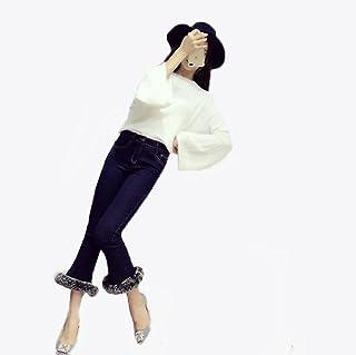 GuDeKeベルボトムジーンズ パンタロン ラッパズボン ブーツカット デニムパンツ 裾ファー付き レディース ベルボトム クロップドパンツ ボトムス 着痩せ スタイリッシュ ファッション セレブ愛着 デート ファッション
