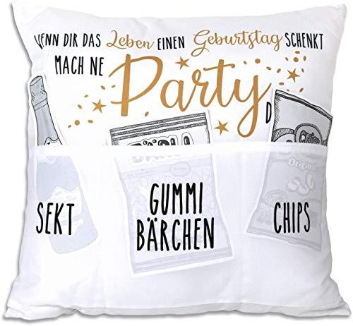 Kamaca Originelles Dekokissen Kissen mit 3 Taschen zum selber Befüllen Größe 43x43 cm tolles Geschenk für EIN gelungen Sofaabend Filmabend Öko Tex (Partykissen Geburtstag)