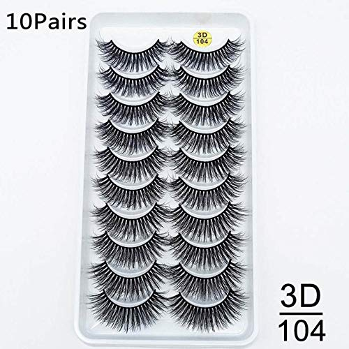 5 / 10pairs HandMade Vison Cils Maquillage 3D Mink cils naturels Faux cils longs cils Extension 5 paires Faux Cils (Color : 10pair 3D 104)