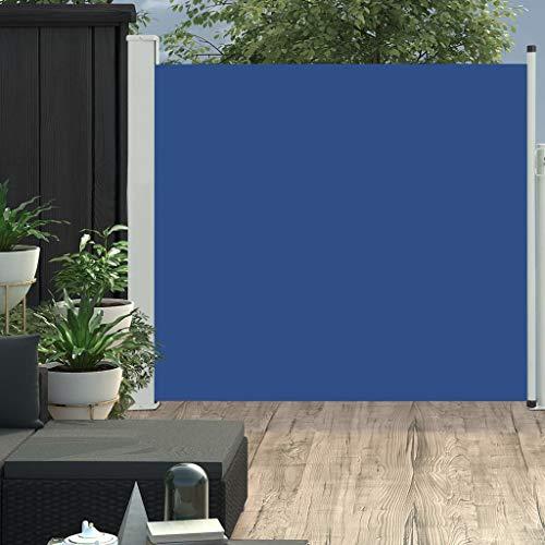 vidaXL Toldo Lateral Retráctil para Patio Pantalla de Terraza Mampara Parasol de Exterior Jardín Tela de Lona PU Azul Soporte de Hierro 170x300 cm