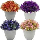 Fycooler Mini Plantas Artificiales Decorativas Verde Plantas Artificiales Plásticas Flor pequeñas en Maceta para Decoración del Hogar o la Oficina Decorativa en Maceta Oficina en Casa Paquete de 4
