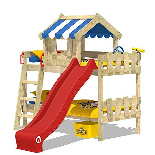 WICKEY Litera CrAzY Circus Cuna Cama de cucheta con tobogán, tejado y somier de madera, lona azul + tobogán rojo