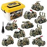 Smontabile Giocattolo Veicolo Militare 10 in 1 Trapano Giocattolo Modellini Carro Armato con Scatola di Immagazzinaggio per Bambini Ragazzi