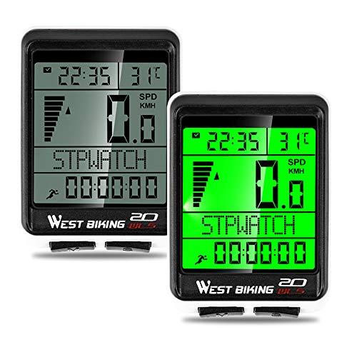 IWILCS IWILCS - Ciclocomputador para bicicleta, cuentakilómetros, cuentakilómetros, pantalla LCD impermeable, multifunción, 5 idiomas, para ciclismo en tiempo real