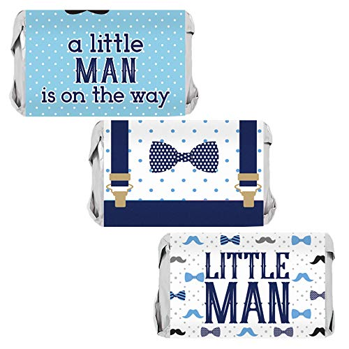 Little Man Baby Shower Mini Candy Bar Wrappers - 45 Stickers