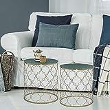 WOMO-DESIGN Set de 2 Tables d'Appoint Design Ø 40/45 cm - Rondes - Plateau en Marbre Vert - Cadre Métallique Doré -...