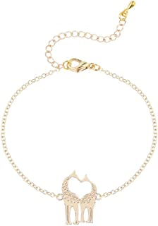 ChubbyChicoCharms Flamingos Making A Heart Stainless Steel Rope Chain Necklace with White Crystal Accent