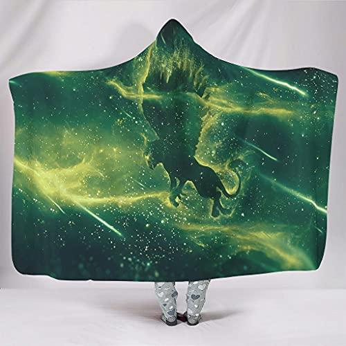 kikomia Manta de peluche con capucha, diseño de alas de león, estrellas, espacio impreso con capucha, supersuave, color blanco, 150 x 200 cm
