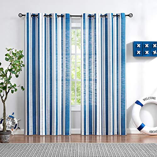 "Fmfunctex Blue Stripe Semi-Sheer Curtains for Living Room Windows Grey Vertical Stripes Sheer Drapes for Bedroom Kids Room 96"" L 2 Pack Grommet Top"