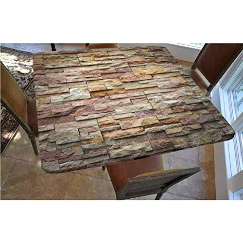 Marble Polyester Fitted Tablecloth,Urban Brick Slate Stone Wall with Rocks Featured Facade Architecture Town Picture Square Elastic Edge Fitted Table Cover,Fits Square Tables 36x36 Multicolor