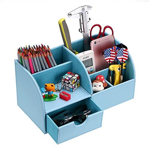 BTSKY Organizador de Escritorio de Piel Sintética Multifuncional Caja de Escribanía Mesa con 7 Compartimientos para Oficina Hogar , Color Azul