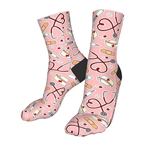 Enfermera impresión rosa de los hombres/de las mujeres cómodo casual divertido largo de la rodilla calcetines de compresión calcetines de invierno caliente calcetines de fútbol calcetines