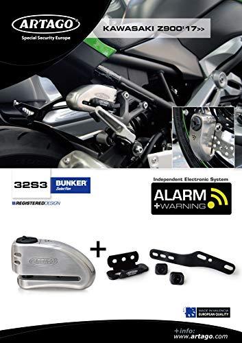 Artago 32S3 Pack Candado Antirrobo Disco con Alarma 120db Alta Seguridad + Soporte para Kawasaki Z900, Homologado Sra, Neutral