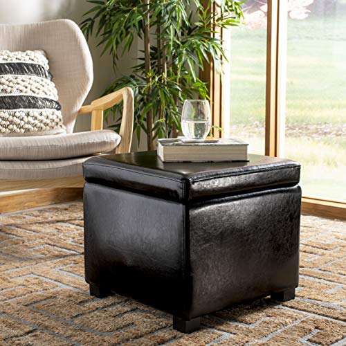 Safavieh Hudson Collection Ryder Leather Square Flip Top Ottoman, Black