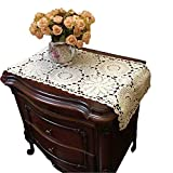 USTIDE 100% Cotton Crochet Lace Rectangular Table Runner Bedside Table Cover Ecru Dresser Scarf Doilies,2pcs 11 Inch X23 Inch