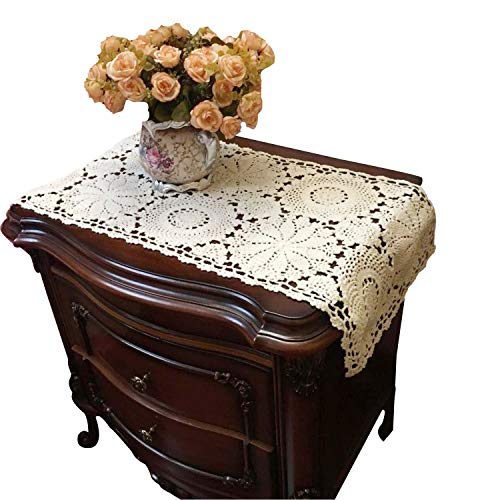 USTIDE Floral Table Runner Hand Crochet Table Placemats Beige Cotton Table Doilies Lace Table Runner for Party,2pc