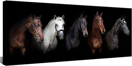 Large Canvas Wall Art Black and White Horse Animal Painting Prints Vintage Horses Giclee Prints Modern Artwork for Home Decor Framed Ready to Hang 20